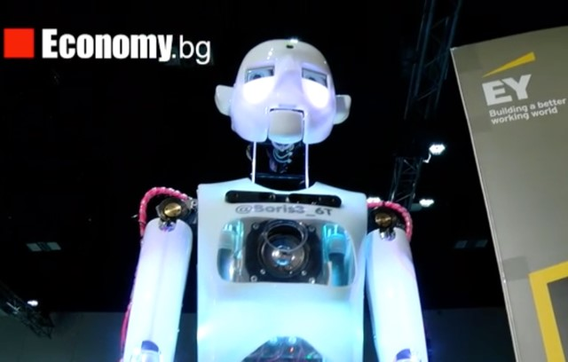 Life sized humanoid robot on stage at an event in Bulgaria